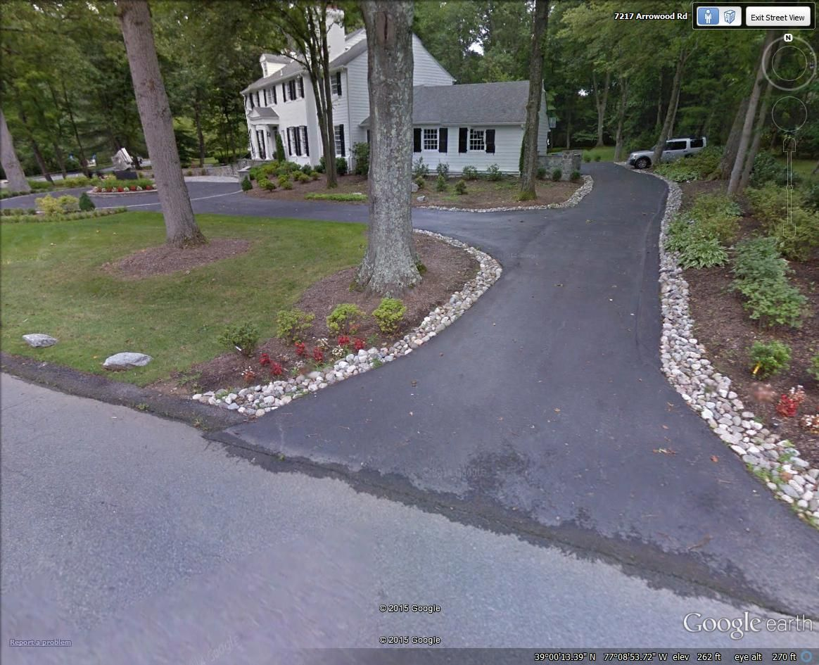 river rock driveway border in bethesda