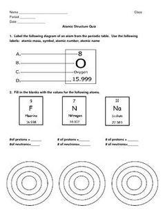 Image result for atom structure worksheet middle school   Química ...