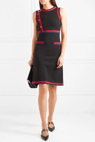 e4468726a Gucci | Button-detailed grosgrain-trimmed stretch-jersey dress |  NET-A-PORTER.COM