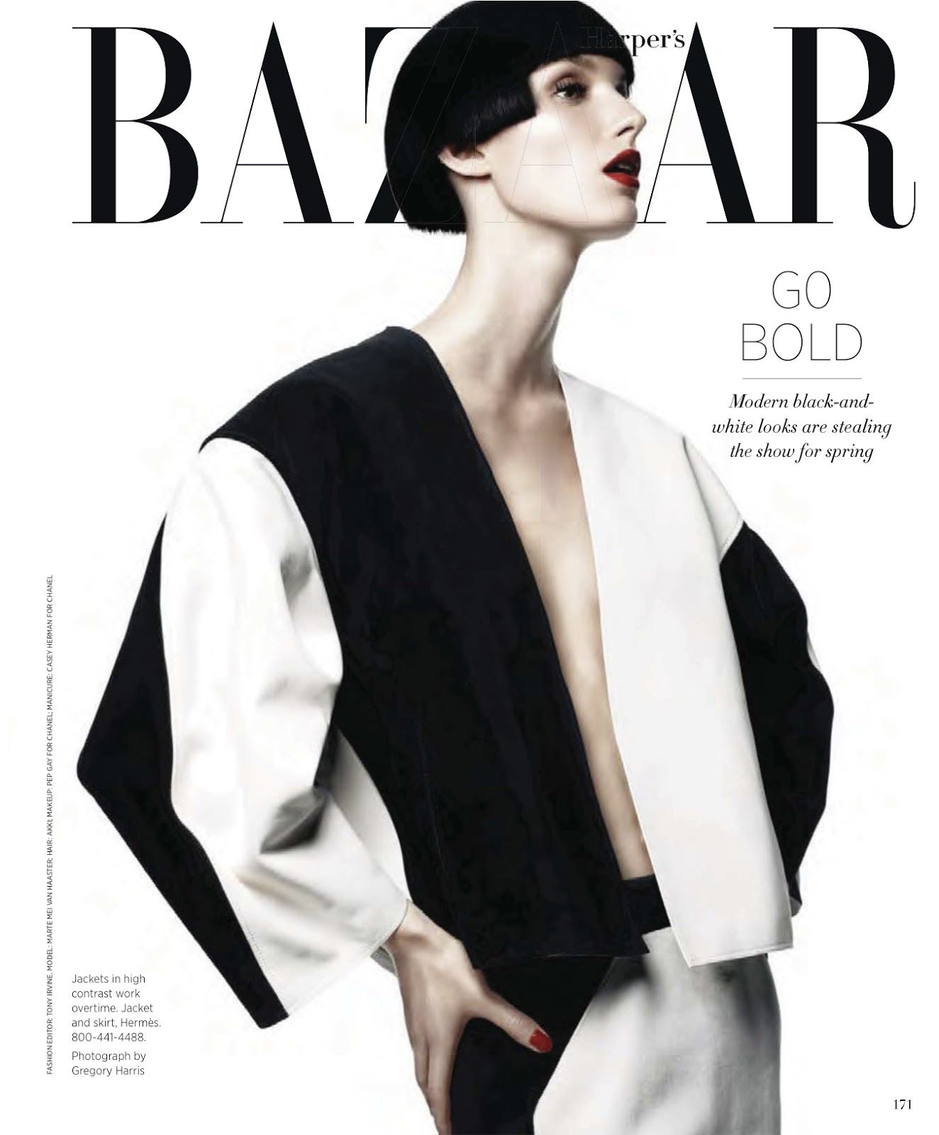 GRAPHIC IMPACT: MARTE MEI VAN HAASTER BY GREGORY HARRIS FOR US HARPER'S BAZAAR FEBRUARY 2013