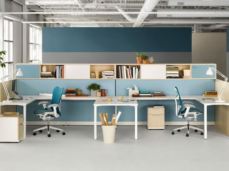 36 Inspirational Home Office Workspaces That Feature 2 Person Desks Home Contemporary House Home Office Design