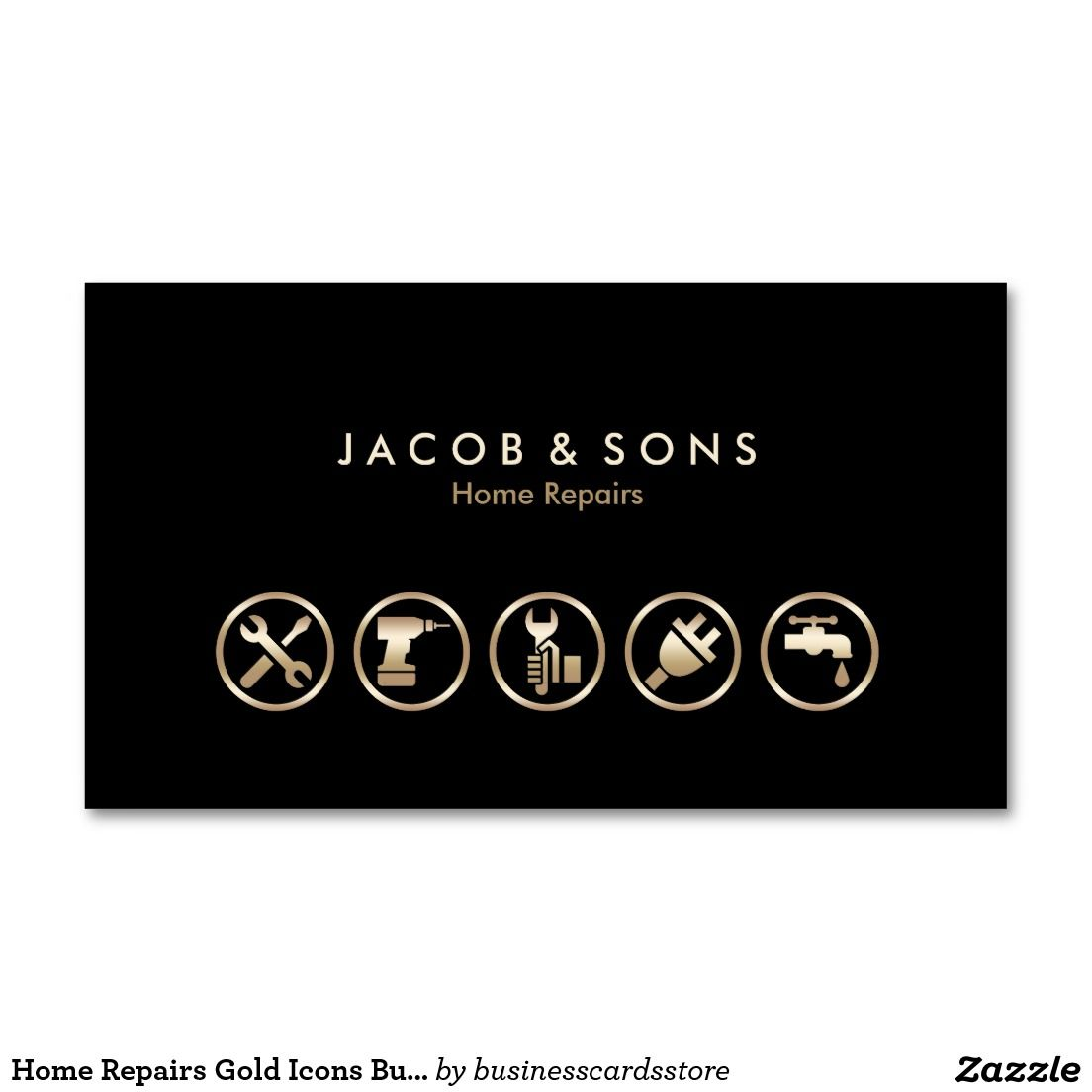 Home Repairs Gold Icons Business Card | Business cards, Icons and ...