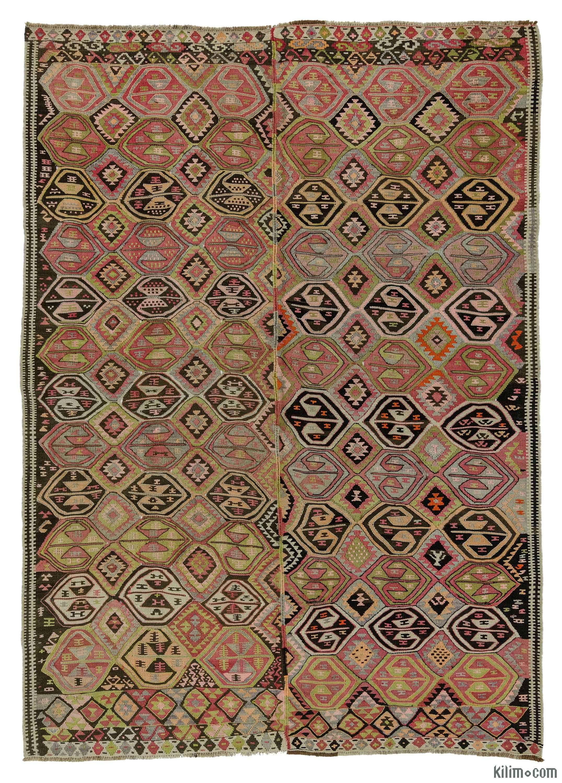 Turkish Vintage Tribal Kilim Rug Hand Woven In Kars Eastern Anatolia 1940 S