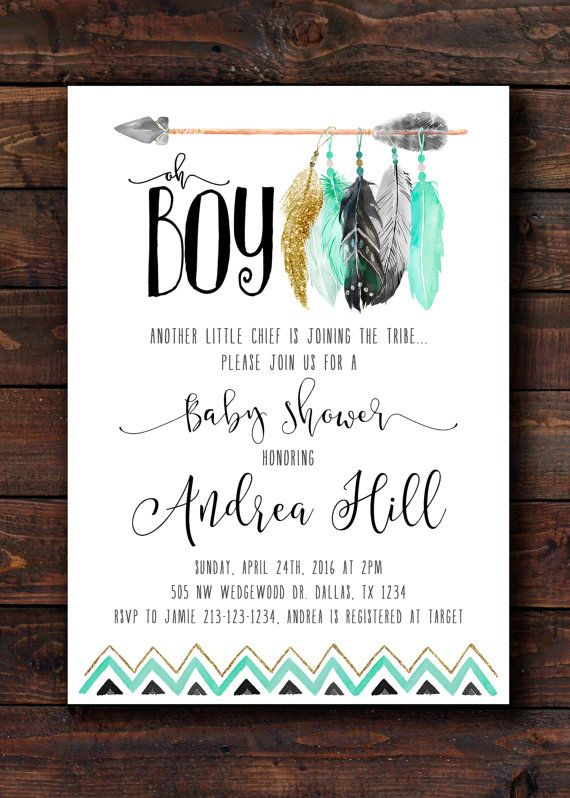 book request insert arrow baby shower tribal feather geometric, Baby shower invitations