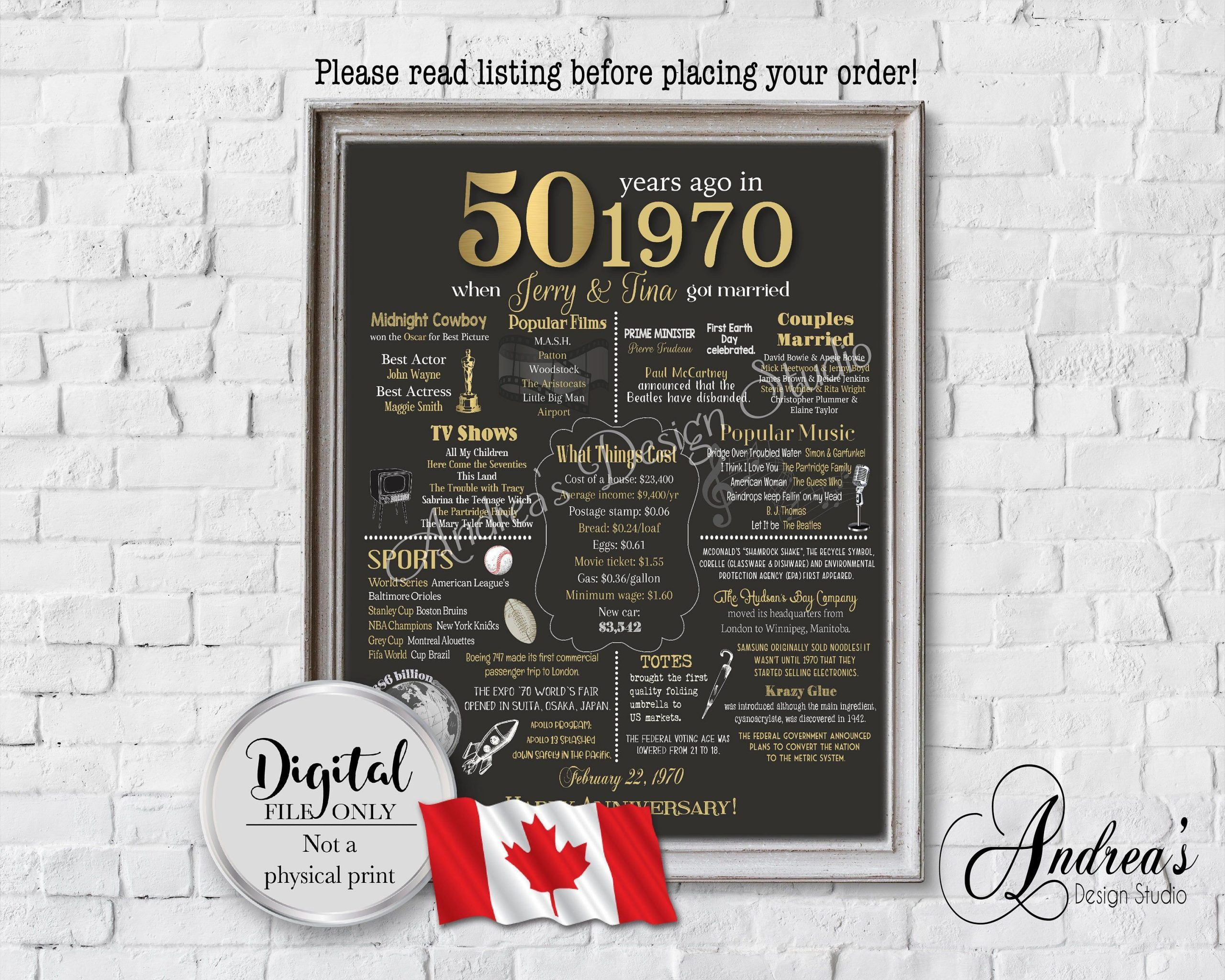 Personalized 50th Anniversary Chalkboard Poster Design, 1970 Events & Fun Facts, 50th Anniversary Gift, Canadian Version, Digital Files#50th #anniversary #canadian #chalkboard #design #digital #events #facts #files #fun #gift #personalized #poster #version