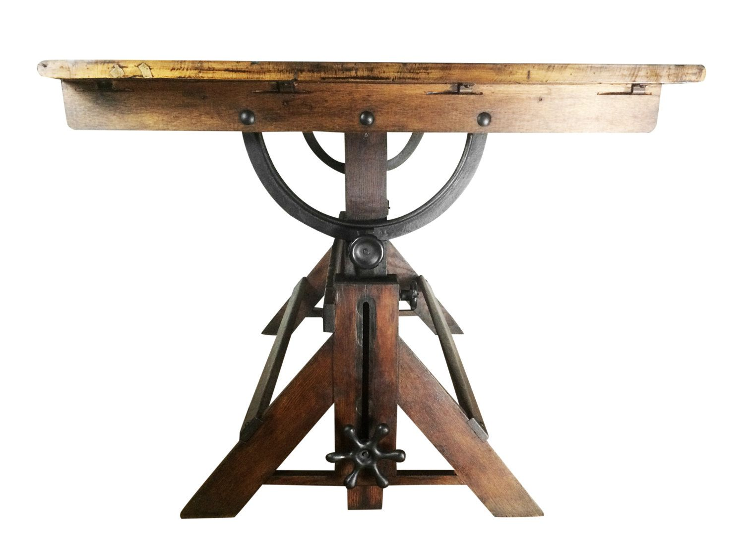 High Quality Large Antique Drafting Table, Cast Iron Hardware, Oak And Maple Construction