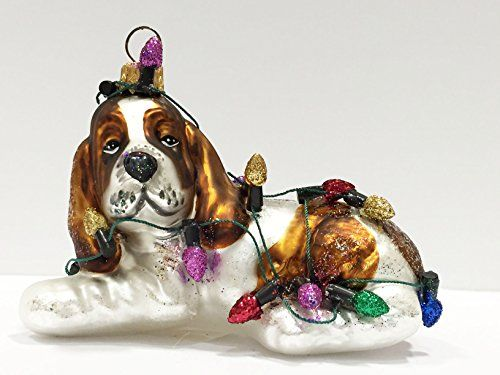 Ornaments to Remember: Basset Hound Puppy (Christmas Lights) Christmas Ornament