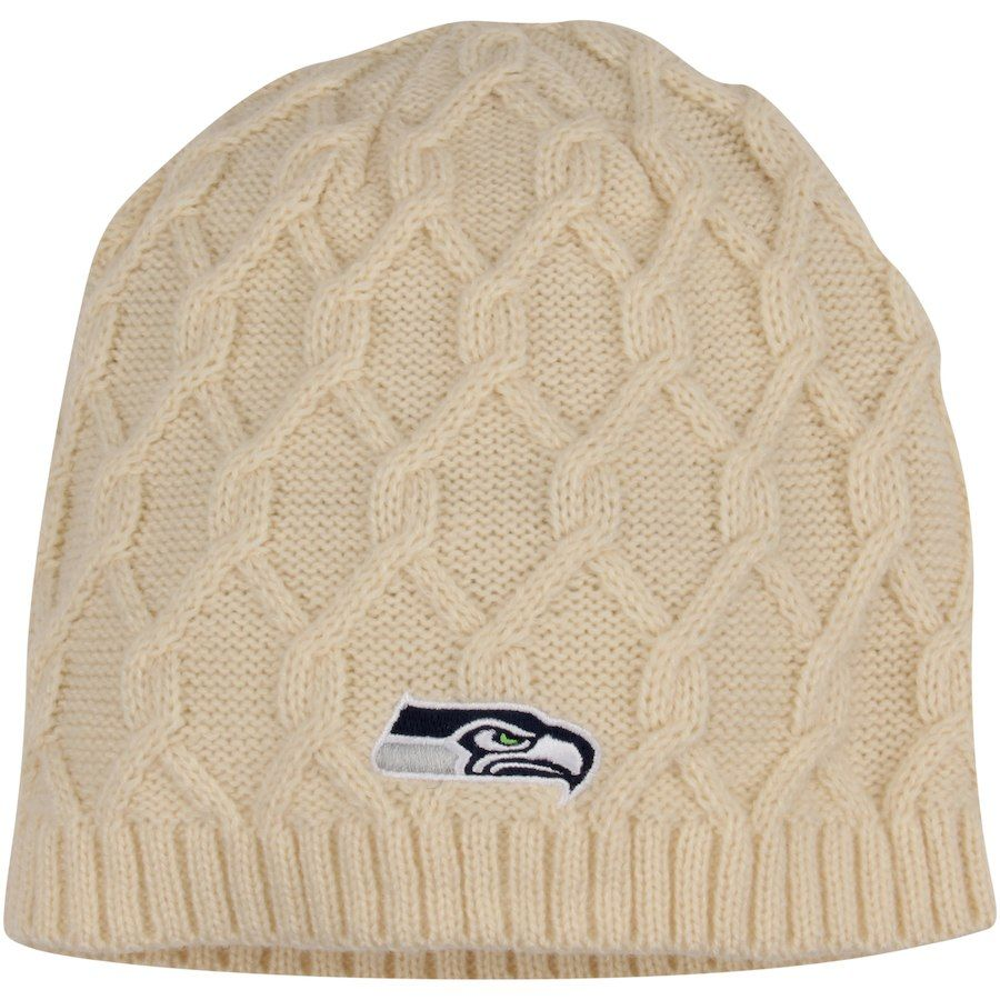 742a94f191b Discover ideas about Nfl Shop. Women s Seattle Seahawks New Era Cream  Walcott Cuffed Knit Hat with Pom ...