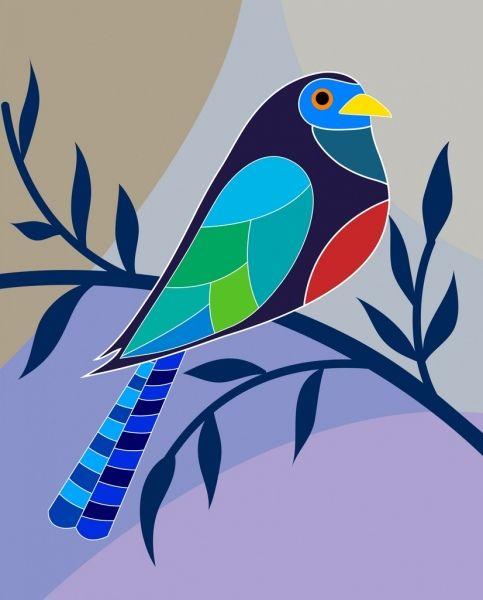 يجثم الطيور الزخارف الملونة رمز مسطح Cartoon Design Bird Perch Vector Illustration