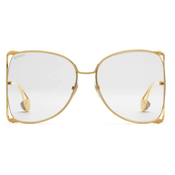 495b42a7c7 Gucci Oversize Round-Frame Metal Glasses ( 515) ❤ liked on Polyvore  featuring accessories