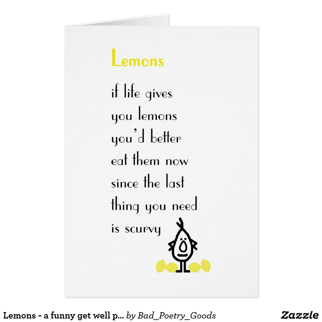 Lemons a funny get well poem card funny greeting cards lemons a funny get well poem card kristyandbryce Choice Image