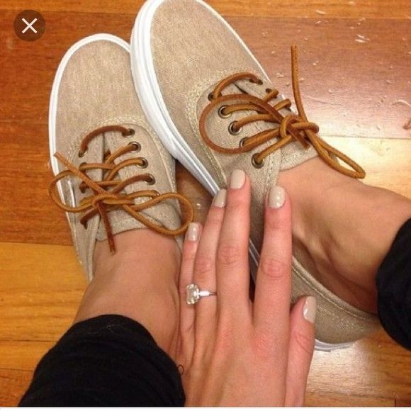 2ab119f59b21e0 Tan vans authentic slim with leather laces Super cute! Only worn once.  There are…