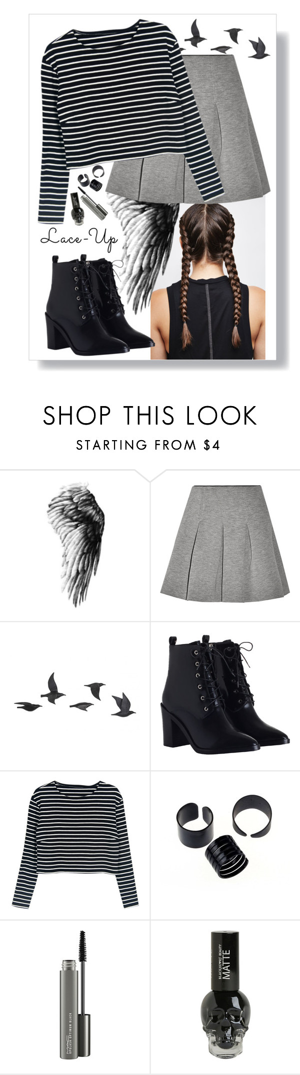 """""""Lace up boots"""" by aninhad-von ❤ liked on Polyvore featuring T By Alexander Wang, Jayson Home, Zimmermann, WithChic and MAC Cosmetics"""