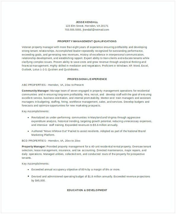 Sample Property Manager Resume  Assistant Property Manager Resume