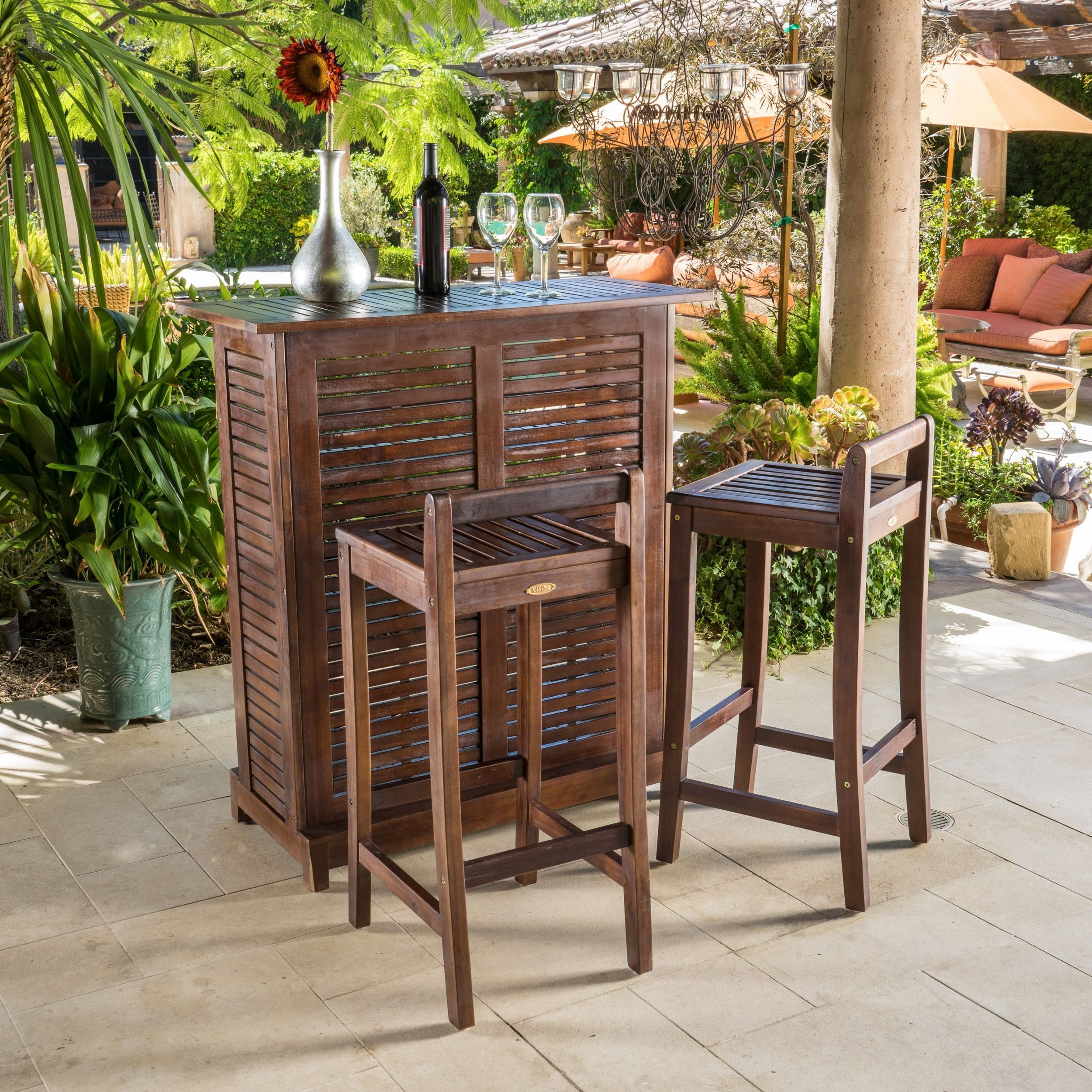Outdoor Furniture Patio Wicker Bar Set Include Glass Bar Two