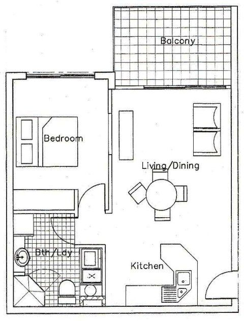 Merveilleux One Bedroom Unit Floor Plan