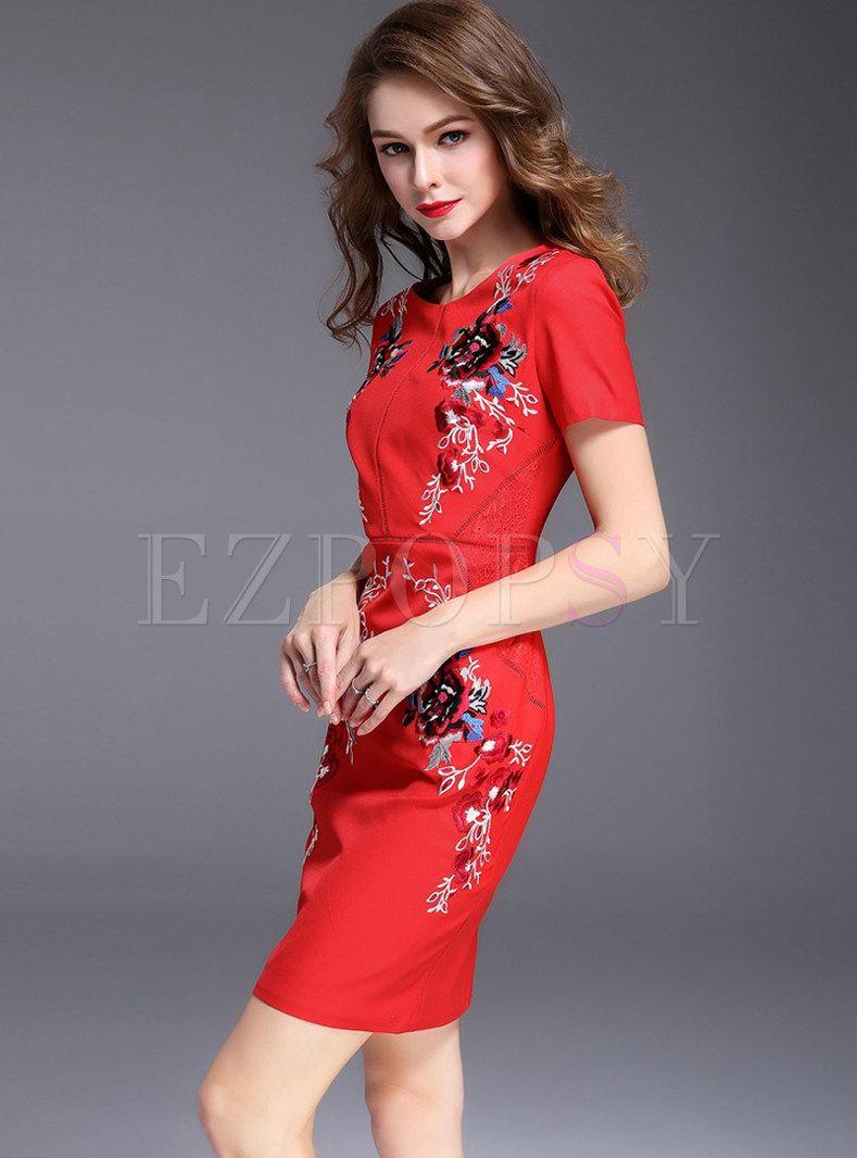 Vintage Embroidered Slim Short Sleeve Bodycon Dress Bodycon Dress With Sleeves Short Sleeve Bodycon Dress Dresses [ 1066 x 789 Pixel ]