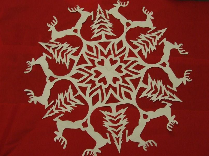 reindeer paper snowflake template  Free Reindeer Paper Snowflake Tutorial | Paper snowflake ...