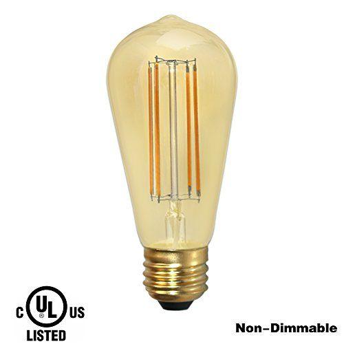 Drlamp St18 3w Vintage Style Led Bulb Edisonequivalent 40w Warm White 2200k Decorative Retro Lightgolden Tinted Gla Antique Lighting Light Decorations Led Bulb