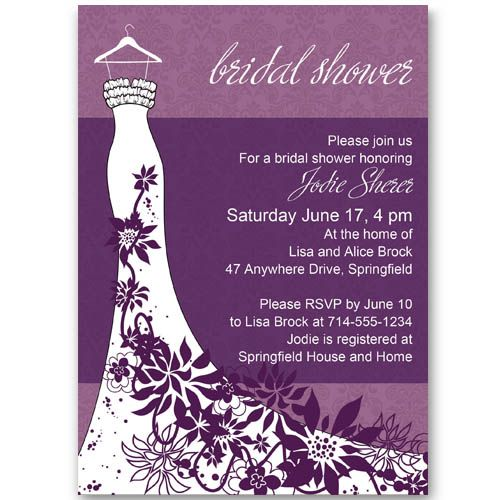 Classic Purple floral wedding dress bridal shower invitations