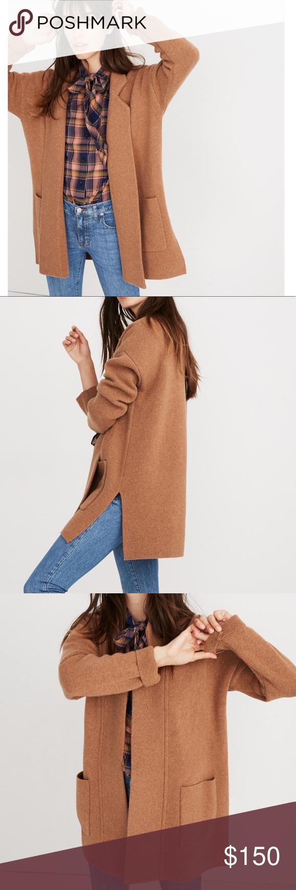 Sold Madewell Spencer Sweater Coat Heathr Caramel My Posh Closet
