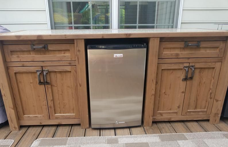 Outdoor Mini Bar Fridge Cooler Cabinet In Your Choice Of Etsy In 2020 Outdoor Mini Fridge Outdoor Patio Bar Outdoor Kitchen Cabinets