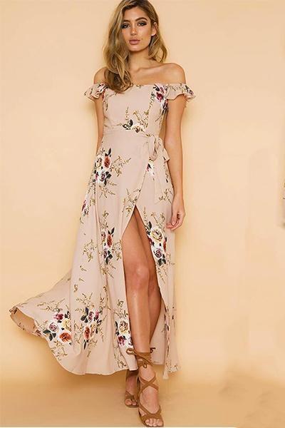 25a3714b8f2 Boho Floral Print Off Shoulder Maxi Dress V-neck Empire in 2019 ...