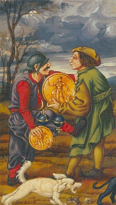 Two Of Pentacles Bruegel Tarot Münzen Cards Tarot Well Drawn