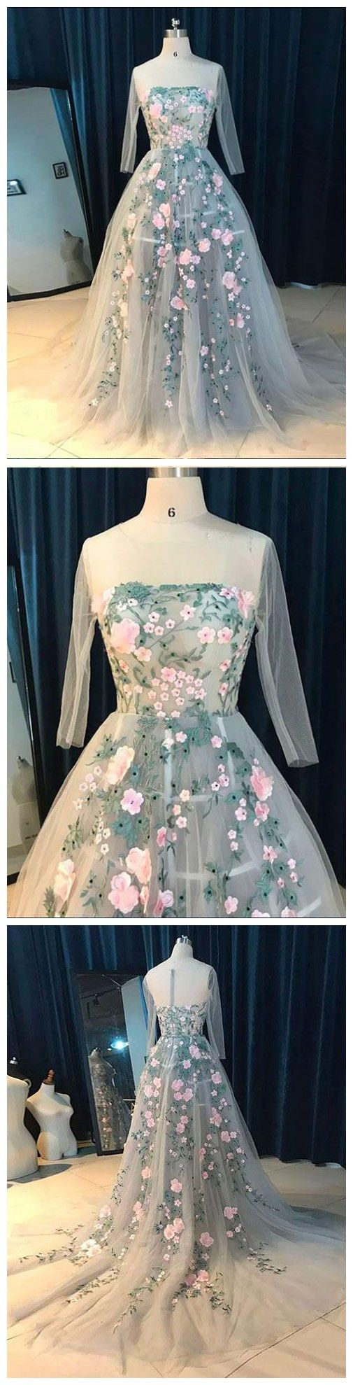 Ball gowns long sleeve prom dress sweepbrush train floral prom