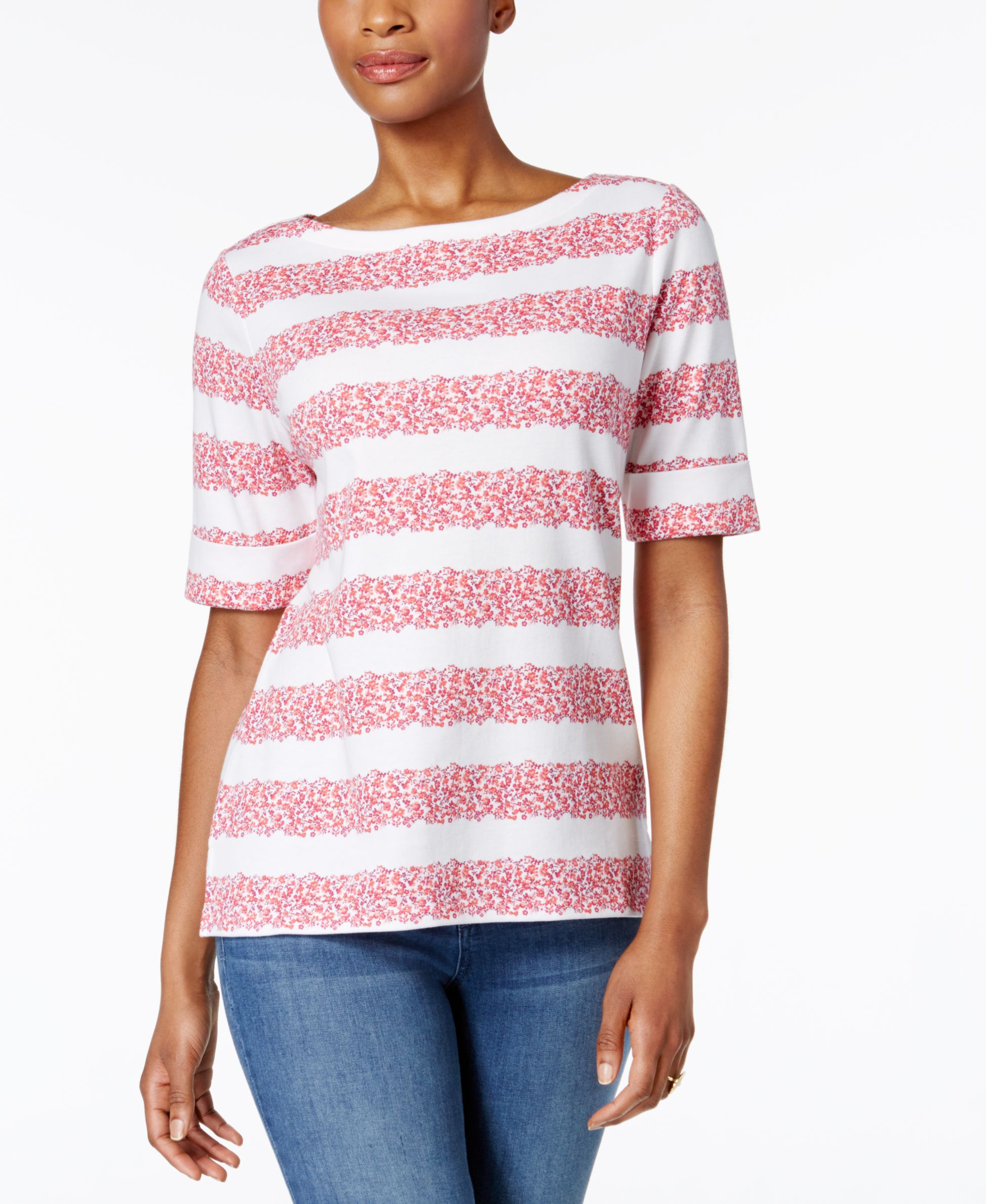 8a13be36f43498 Karen Scott Petite Floral-Stripe Top, Only at Macy's | Products ...