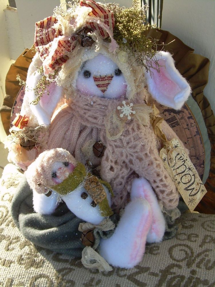 """Primitive Prim Folk Art Snowman Bunny Rabbit Doll """" SNOW"""" Must see!! #NaivePrimitive #LeahsWhimsicalcorner THIS SWEET BUNNY IS NOW AVAILABLE ON eBAY!! THANK YOU!!:0) SOLD"""
