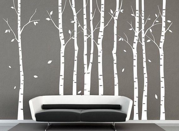 Weiss Baum Wandtattoo Aufkleber 9 Birke Baume Wald Wand Aufkleber