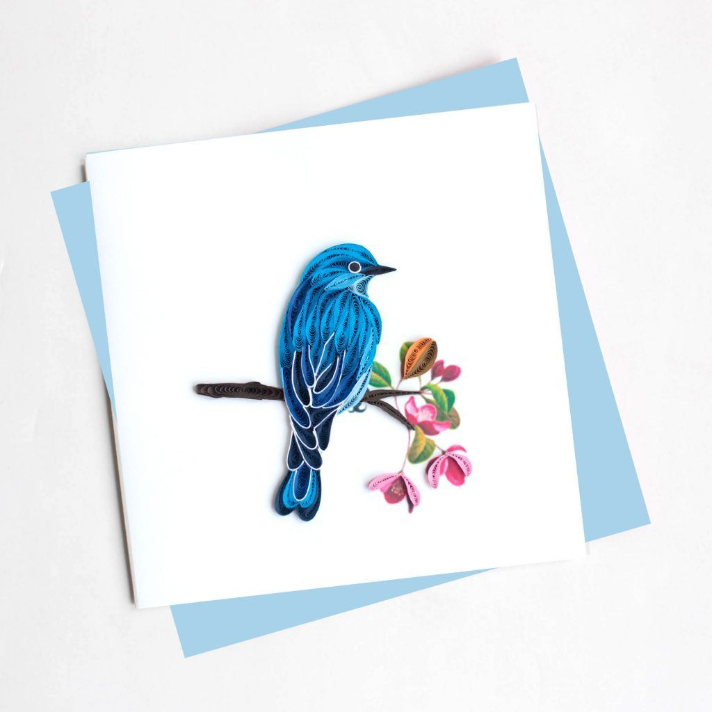 Mountain Blue Bird Cards Set Of 6 Quilling Paper Quilling And Bird