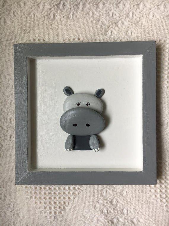 Baby hippo wall art, baby hippo decor,  framed pebble art, baby shower gift, unique gift, framed bab #babyhippo