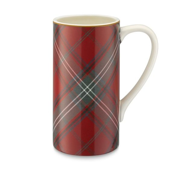 Red Tartan Tall Mugs, Set of 4