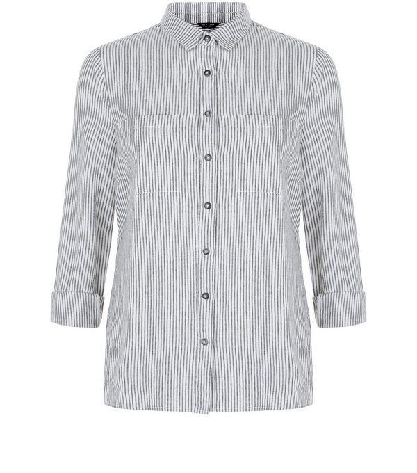 Petite White Stripe Double Pocket Shirt | New Look