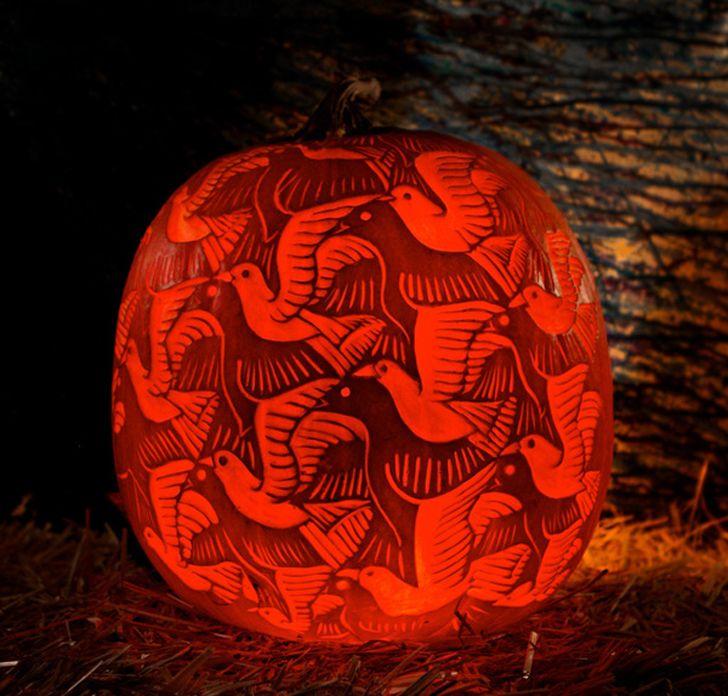 Halloween Weetjes.Artistiek Pompoen Inkerven Escher Herfst Pompoenen