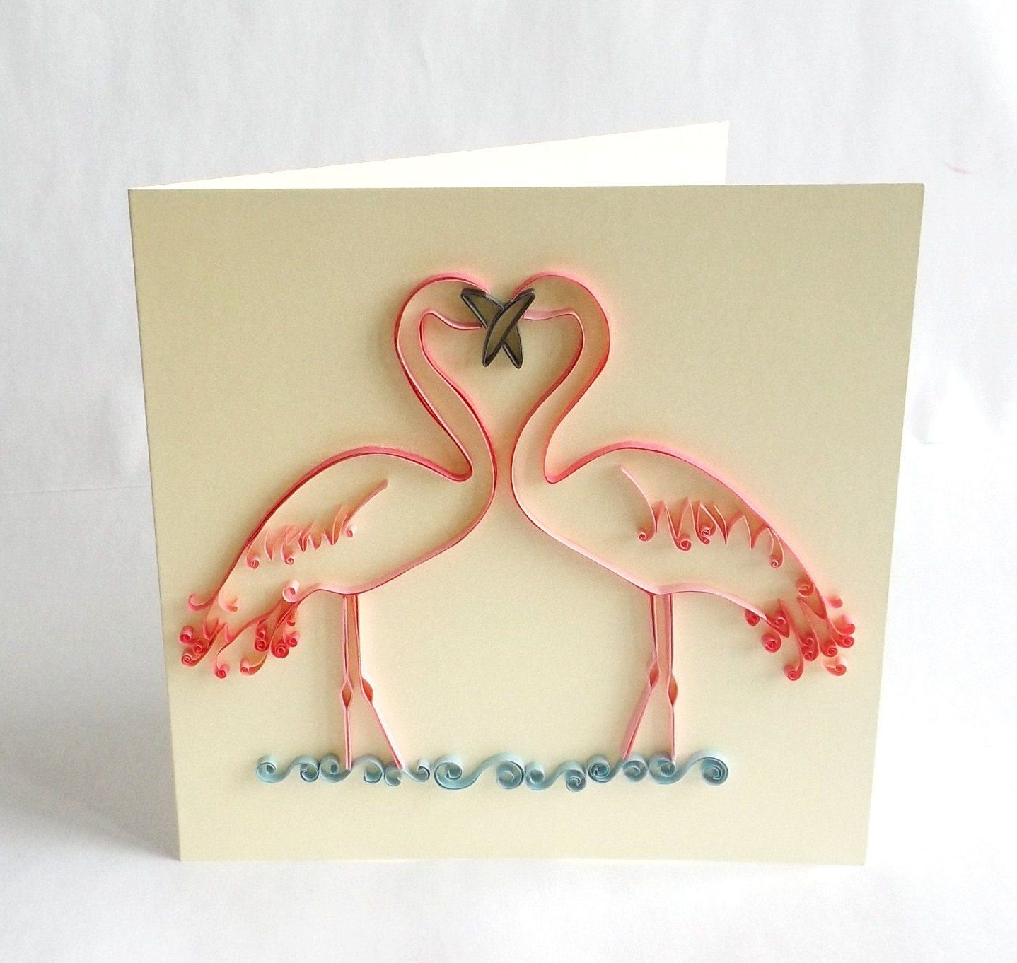 Paper quilled card quilled flamingo card love card for Quilling strips designs