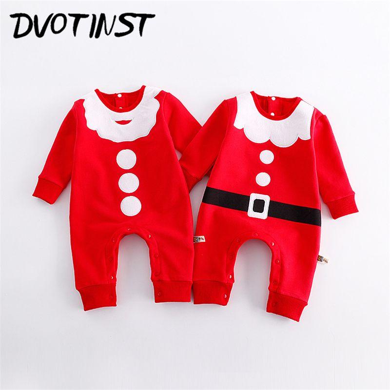 1ec41d5fd7ae Dvotinst Bebé Recién Nacido Niños Niñas Ropa de Invierno Rojo de la Navidad  Traje Mameluco Del