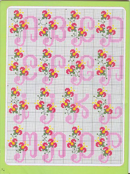 Cross stitch alphabet with simple small flowers (1)