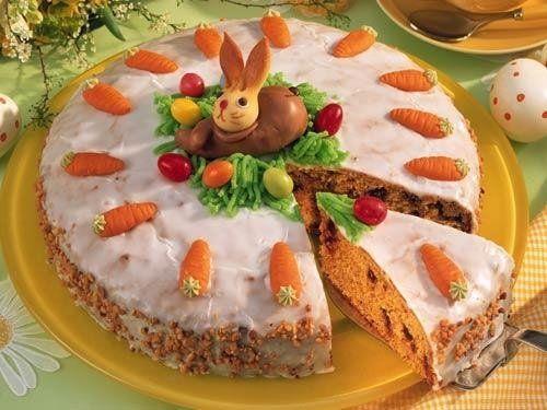 karottenkuchen l sst sich zu ostern besonders sch n mit h schen dekorieren rund um ostern. Black Bedroom Furniture Sets. Home Design Ideas