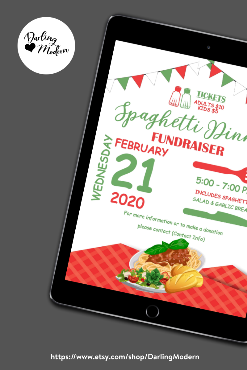 TEXT IS EDITABLE. YOU CAN CREATE TO READ WHATEVER YOU'D LIKE FOR ANY SPAGHETTI DINNER FUNDRAISER EVENT! YOURS TO KEEP FOREVER, USE YEAR AFTER YEAR FOR COUNTLESS EVENTS TO COME! This Spaghetti Dinner Flyer Set is very versatile. A great way to promote your event! Works great for church's, Community Center's, Restaurants, Non-profits, Schools, PTA or PTO Organizations! #spaghettidinner #fundraiser #charity #fundraising #support #charityevent #community