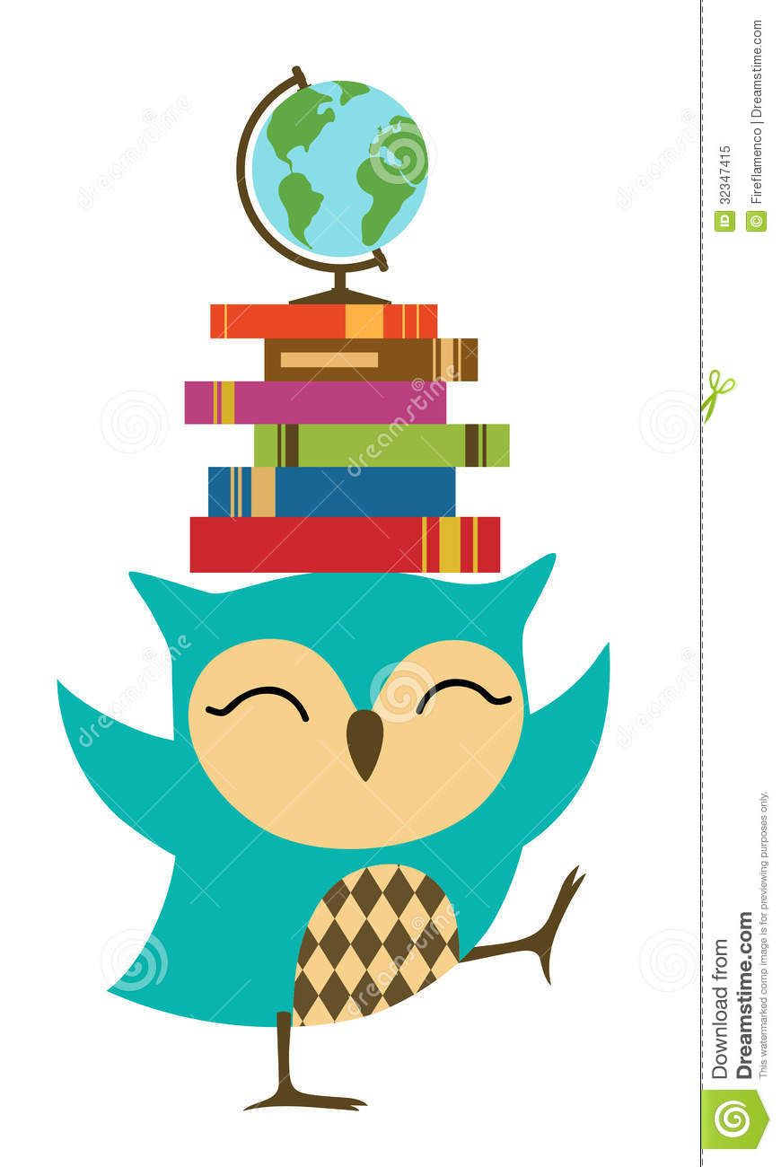 Owl with Books Clip Art | Education Owl Clipart Happy little