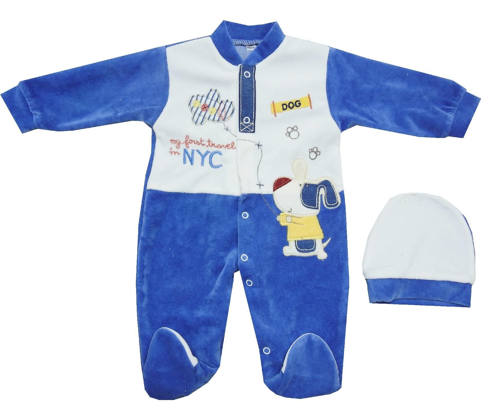 696 Wholesale NYC printed velvet romper for baby 0 3 6 month