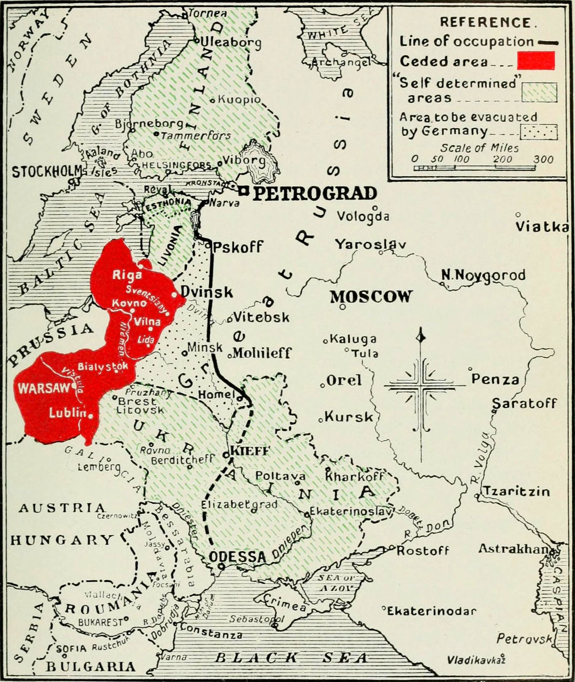 As agreed to by the German Empire and Bolshevik Russia in 1917