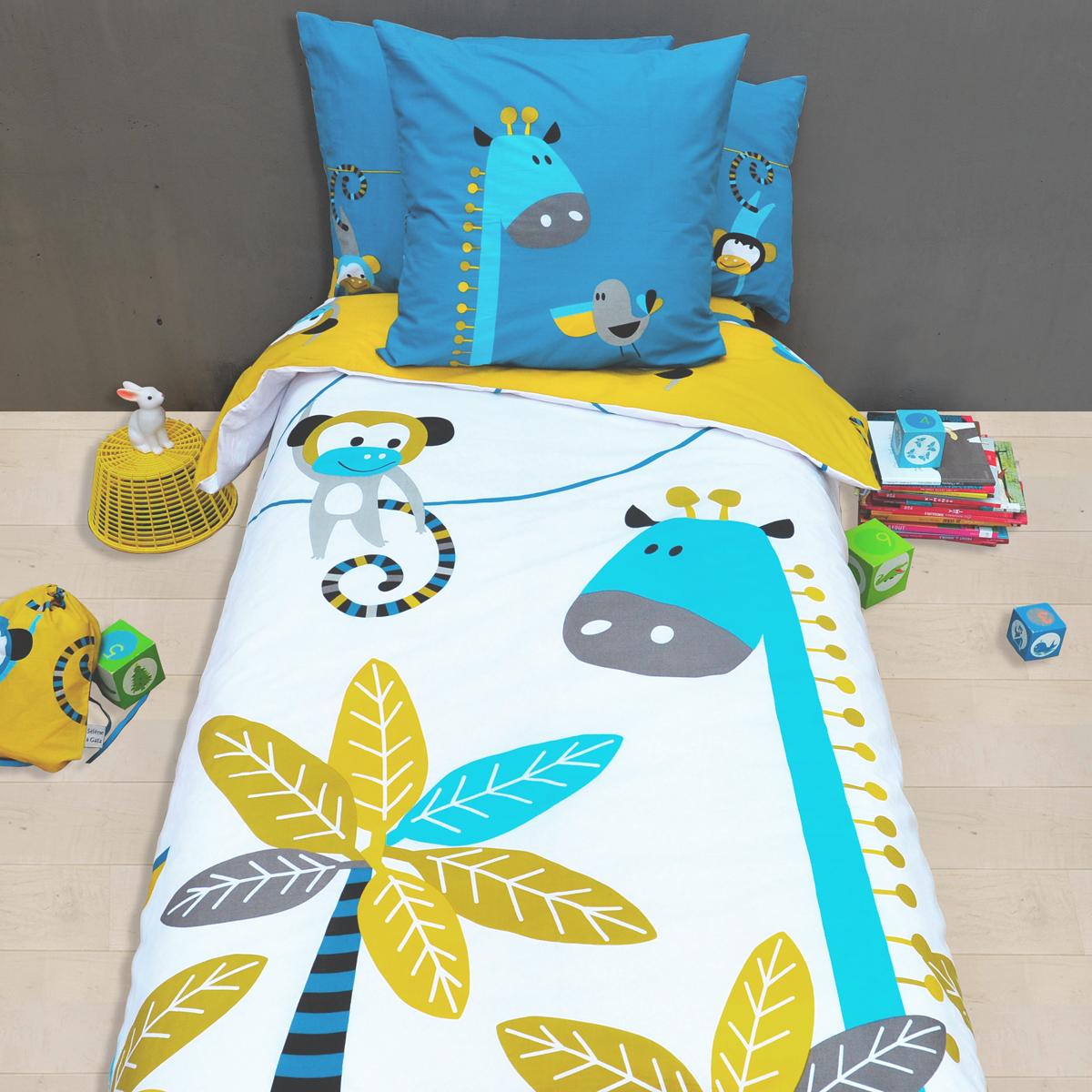 linge de lit pour enfant housse de couette et taie d oreiller avec des motifs d 39 animaux de la. Black Bedroom Furniture Sets. Home Design Ideas