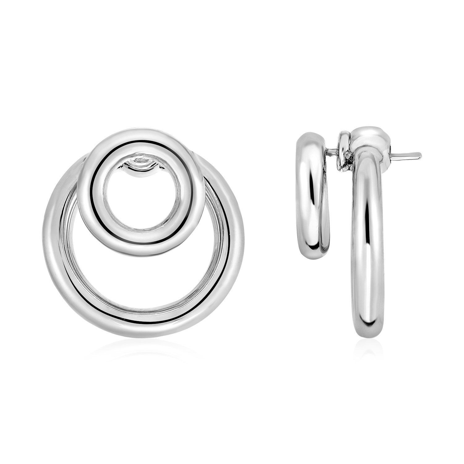 d55d66e4c0299 Post Earrings with Double Polished Rings in Sterling Silver in 2019 ...