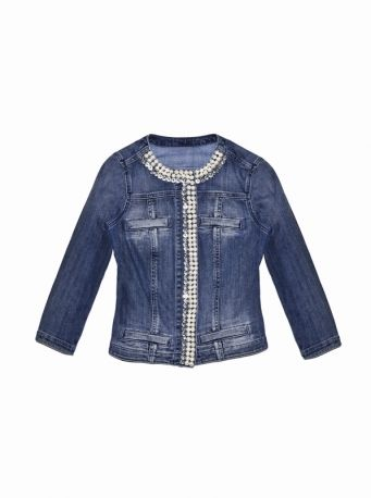 buy popular 29890 2ef37 Giacca in denim con perle e strass ricamati, LIU JO JEANS ...