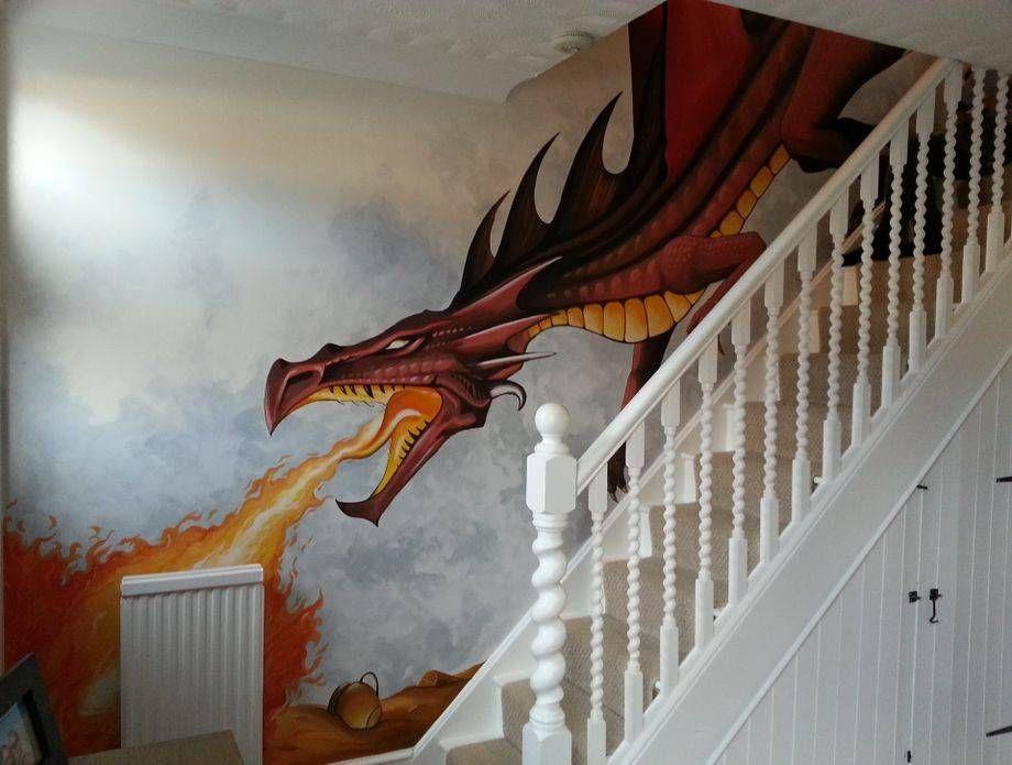 Dragon Stairs Hand Painted Mural Dragon Wall Mural Wall Murals