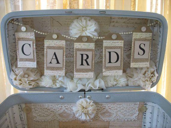 Vintage Suitcase Wedding Card Box #vintagesuitcasewedding